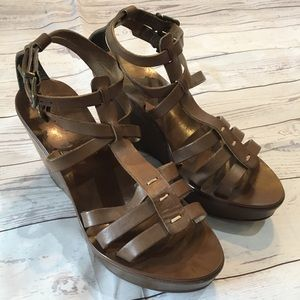 J. CREW Tan Leather Wedge Sandals Made in Italy